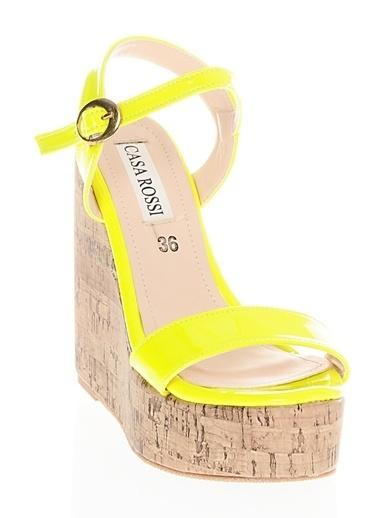 Casa Rossi Platform Dolgu Topuklu Ayakkabı Sarı